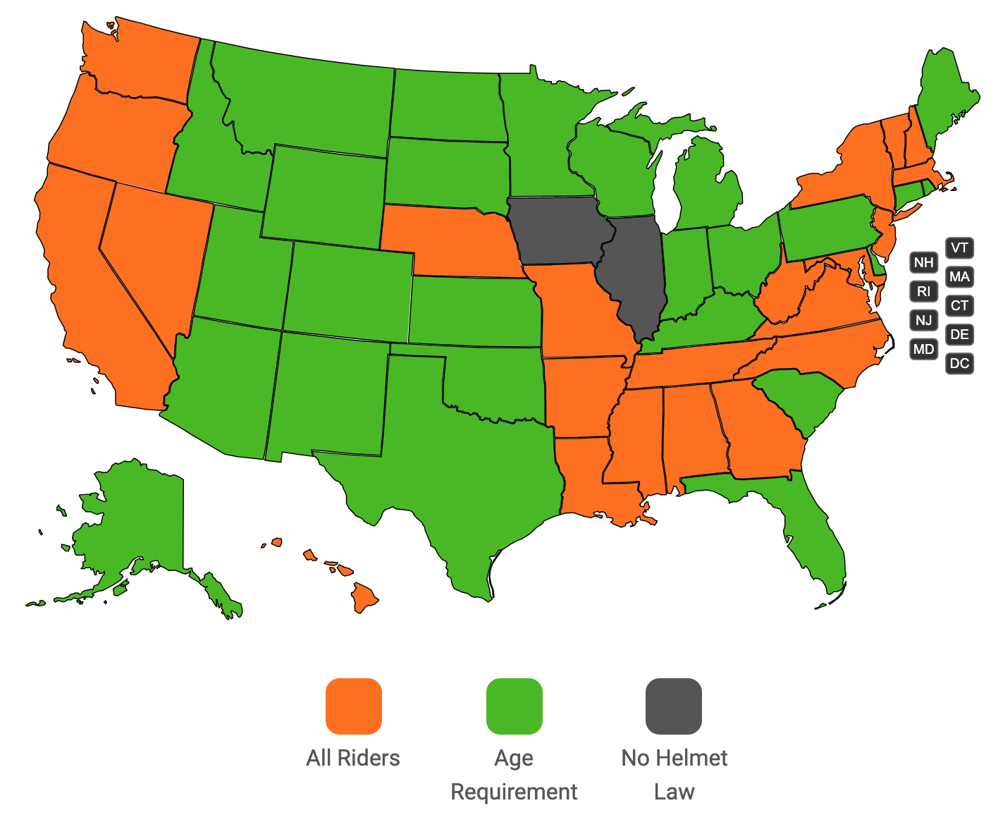 Motorcycle Helmet Laws - By State - Knights On Bikes-Dallas ...
